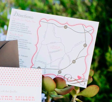 Stationery, Invitations, Map