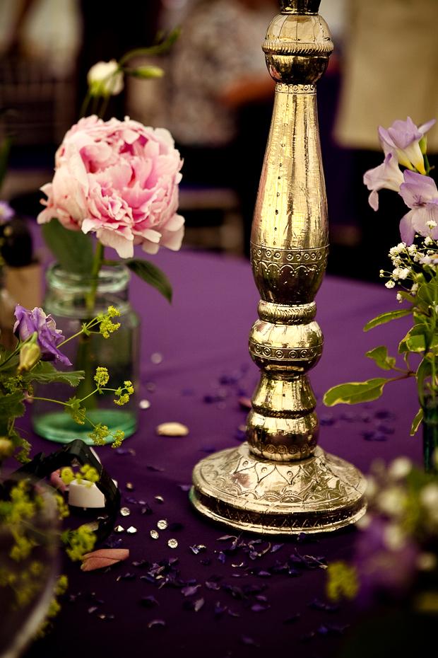 purple, green, gold, Vintage Wedding Flowers & Decor