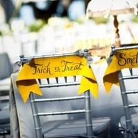 Reception, Flowers & Decor, yellow, Tables & Seating, Chairs, Halloween, Ribbon, Inspiration board, Tags, banners, Saying