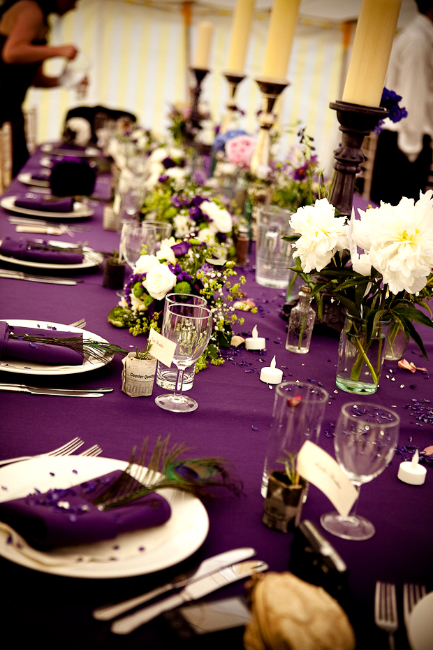 Reception, Flowers & Decor, Registry, white, purple, gold, Place Settings, Drinkware, Flowers, Napkins, Glasses, Inspiration board, Plates