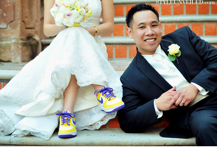 Ceremony, Reception, Flowers & Decor, Shoes, Fashion, white, yellow, purple, black, Bride, Groom, Colorful, Picture, Inspiration board, Nikes