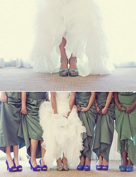 Ceremony, Reception, Flowers & Decor, Bridesmaids, Bridesmaids Dresses, Wedding Dresses, Shoes, Fashion, white, blue, green, dress, Ceremony Flowers, Bride Bouquets, Bridesmaid Bouquets, Bride, Flowers, Colorful, Inspiration board, Flower Wedding Dresses
