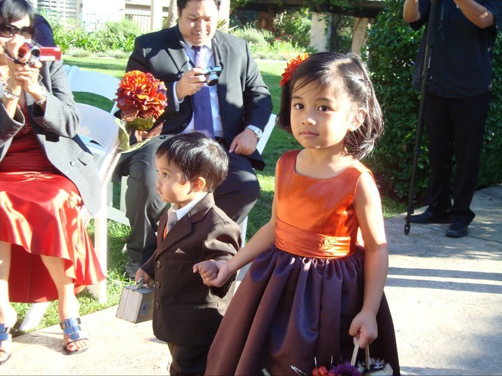 orange, purple, Flower girl, Ring bearer