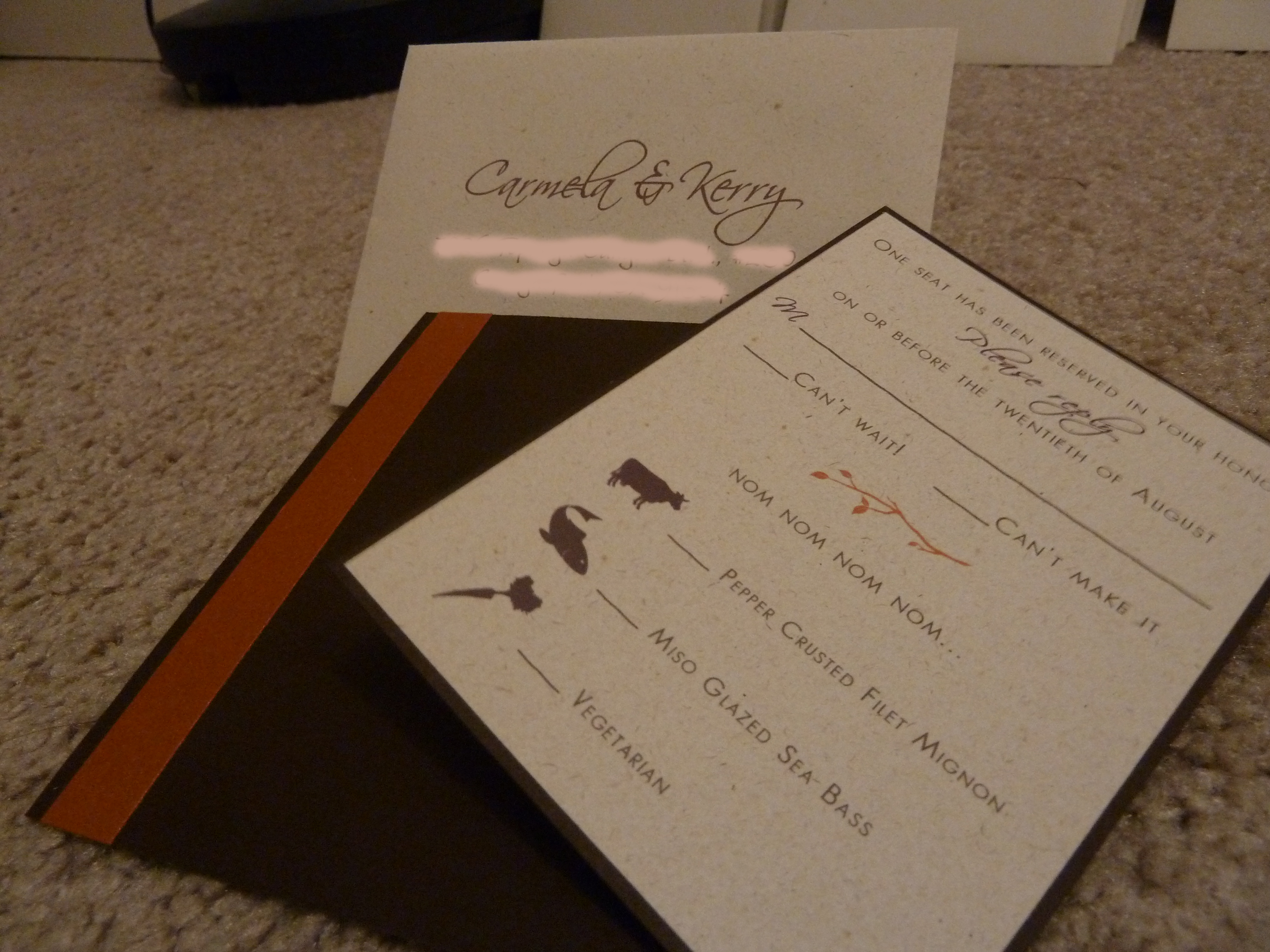 Stationery, orange, purple, Invitations, Handmade
