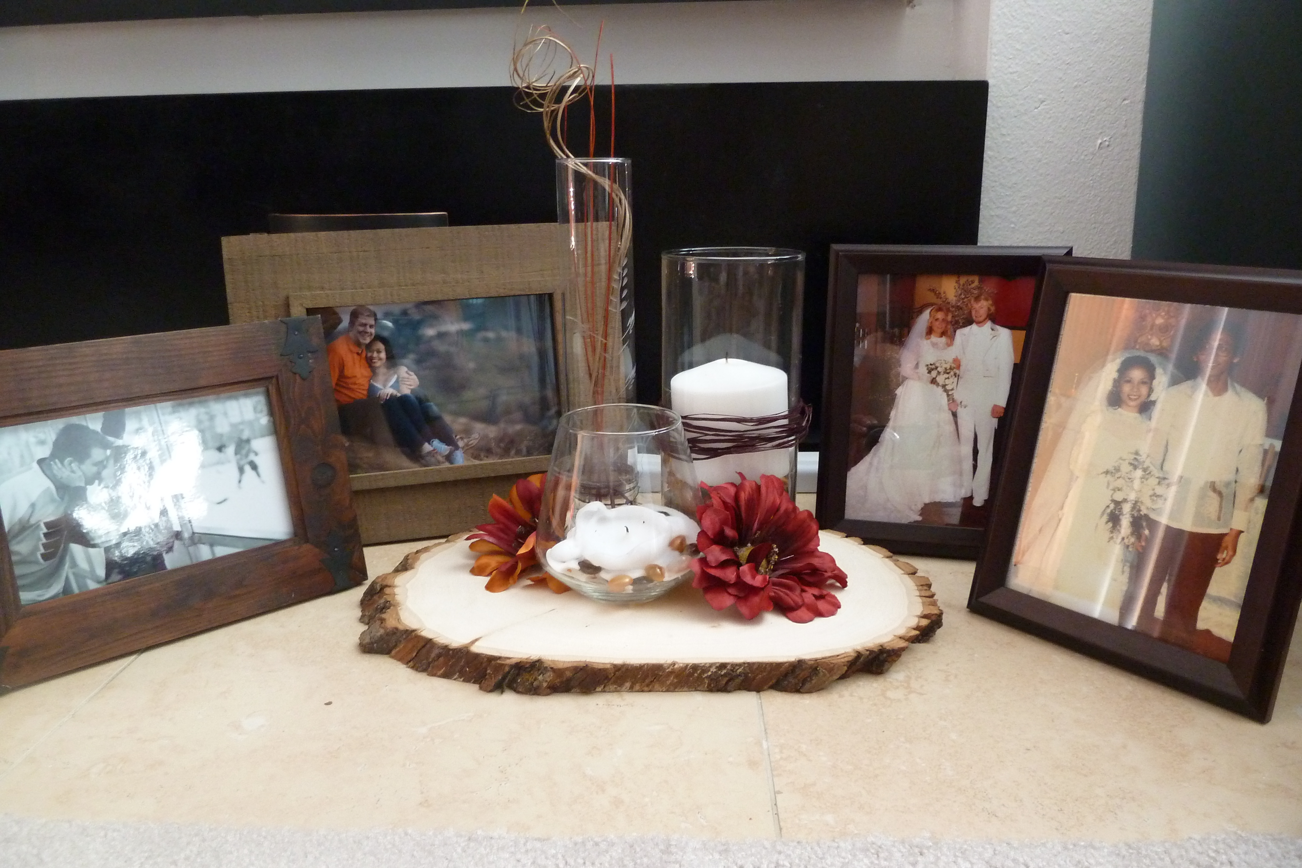 Reception, Flowers & Decor, Fall, Rustic, Rustic Wedding Flowers & Decor, Guestbook table