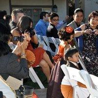 Ceremony, Flowers & Decor, orange, purple, Flower girl, Ring bearer
