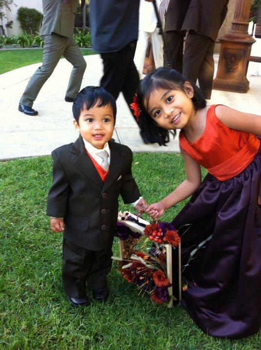Ceremony, Flowers & Decor, orange, purple, Rustic, Rustic Wedding Flowers & Decor, Flower girl, Ring bearer, Aubergine, Flower box