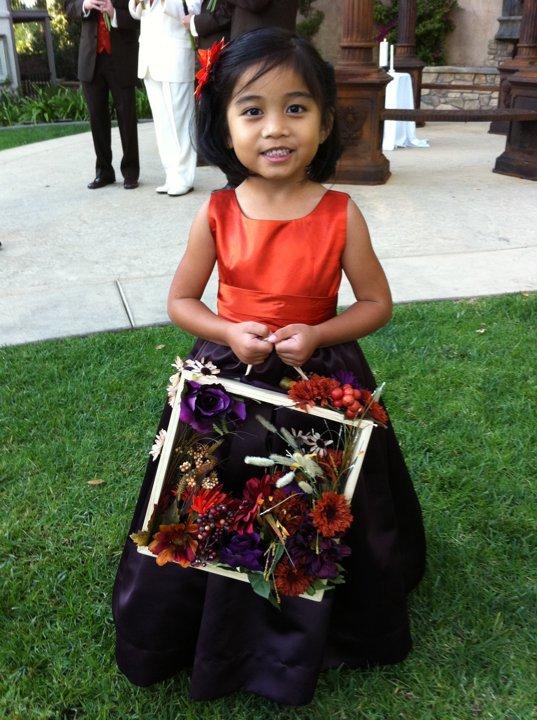 Ceremony, Flowers & Decor, orange, purple, Rustic, Rustic Wedding Flowers & Decor, Flower girl, Aubergine, Flower box
