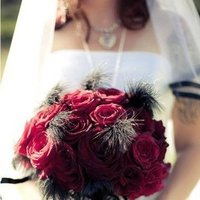 Beauty, Ceremony, Flowers & Decor, red, black, Feathers, Bouquet, Before, Halloween, My, Christmas, Magic, Nightmare, Freedom