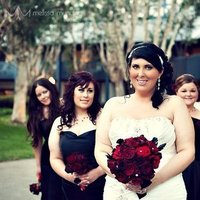 Beauty, Ceremony, Reception, Flowers & Decor, Jewelry, Bridesmaids, Bridesmaids Dresses, Wedding Dresses, Fashion, white, red, black, dress, Makeup, Ceremony Flowers, Bridesmaid Bouquets, Flowers, Hair, Inspiration board, Flower Wedding Dresses