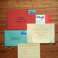Ceremony, Reception, Flowers & Decor, Stationery, white, orange, red, blue, Invitations, Envelope, Inspiration board, Drawing, Lingy, Inites