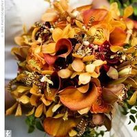 Flowers & Decor, orange, red, gold, Flowers