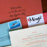 Ceremony, Reception, Flowers & Decor, Stationery, white, orange, red, blue, Invitations, Envelope, Inspiration board, Invites, Lingy, Cutsom