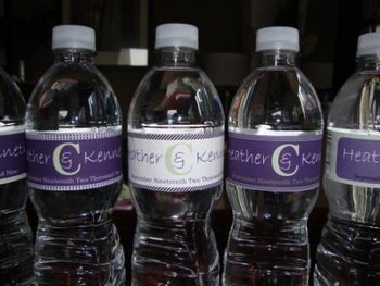 Reception, Flowers & Decor, white, purple, Water, Inspiration board, Labels, Bottles
