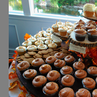Reception, Flowers & Decor, orange, purple, Fall, Cupcakes, Lights, Cupcake stand