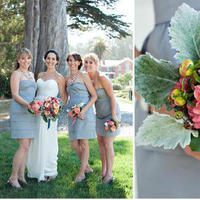 Flowers & Decor, Bridesmaids, Bridesmaids Dresses, Wedding Dresses, Fashion, orange, green, gray, dress, Bridesmaid Bouquets, Flowers, Flower Wedding Dresses