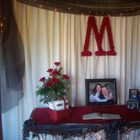 Reception, Flowers & Decor, red, Flowers, Monogram, M