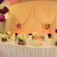 Reception, Flowers & Decor, white, yellow, purple, Flowers, Flower, Table, Draping, Lanterns, Head