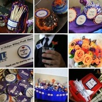 Reception, Flowers & Decor, Favors & Gifts, orange, purple, blue, Favors, Flowers, Candy, Buffet, Inspiration board