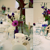 Reception, Flowers & Decor, Registry, pink, purple, blue, green, brown, Centerpieces, Drinkware, Flowers, Centerpiece, Glasses, Numbers, Inspiration board