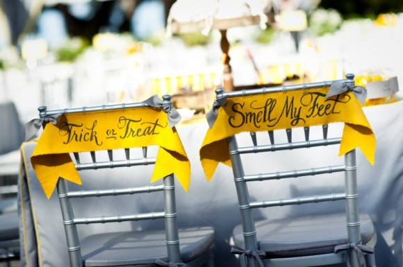 Reception, Flowers & Decor, yellow, gold, Grey, Halloween, Inspiration board, Tags, Signes, Shairs