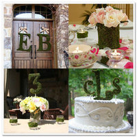 Reception, Flowers & Decor, Cakes, green, brown, cake, Candles, Food, Flowers, Inspiration board, Letters, Moss