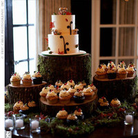 Reception, Flowers & Decor, Cakes, green, brown, cake, Cupcakes, Flowers, Cookies, Table, Inspiration board, Moss, Sweets
