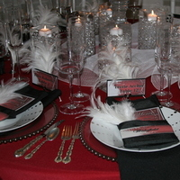 Ceremony, Reception, Flowers & Decor, Registry, white, red, black, silver, Ceremony Flowers, Centerpieces, Candles, Place Settings, Centerpiece, Table, Vase, Crystal, Napkins, Inspiration board, Plates, Balls, Gel