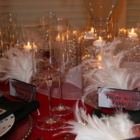 Beauty, Ceremony, Reception, Flowers & Decor, white, red, black, Feathers, Ceremony Flowers, Centerpieces, Candles, Flowers, Centerpiece, Vase, Inspiration board, Crystals, Balls, Gel, Ferns