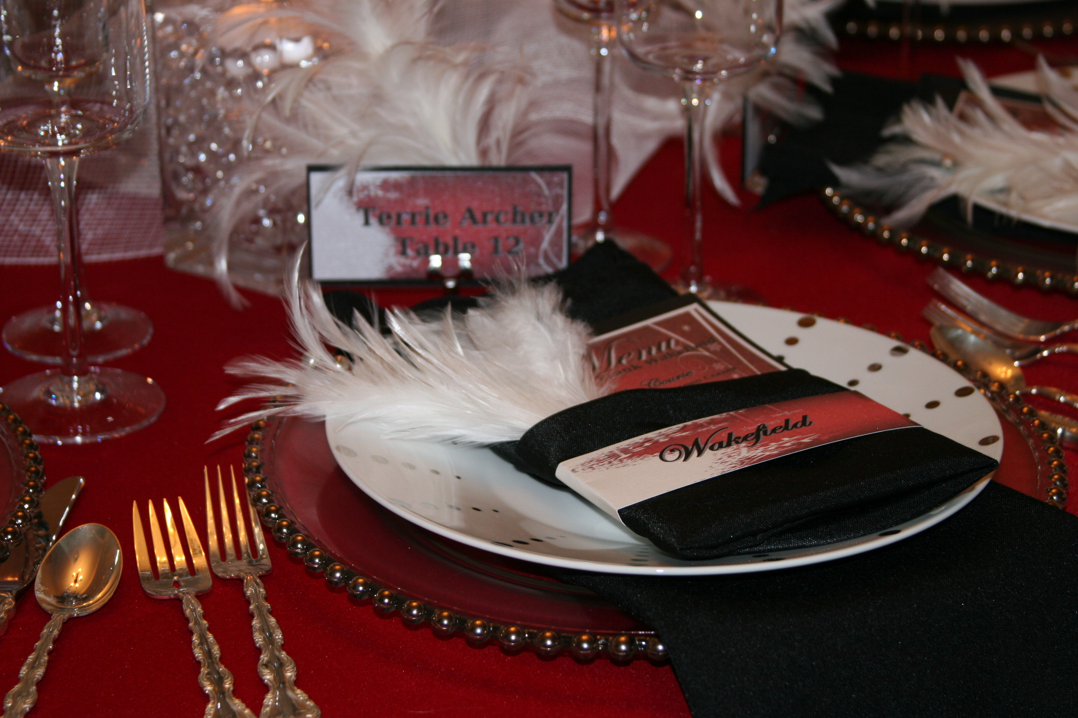 Reception, Flowers & Decor, white, red, black, Centerpieces, Winter, Centerpiece, Napkins, Inspiration board, Sashes, Crystals