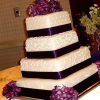 Ceremony, Reception, Flowers & Decor, Cakes, white, purple, green, silver, gold, cake