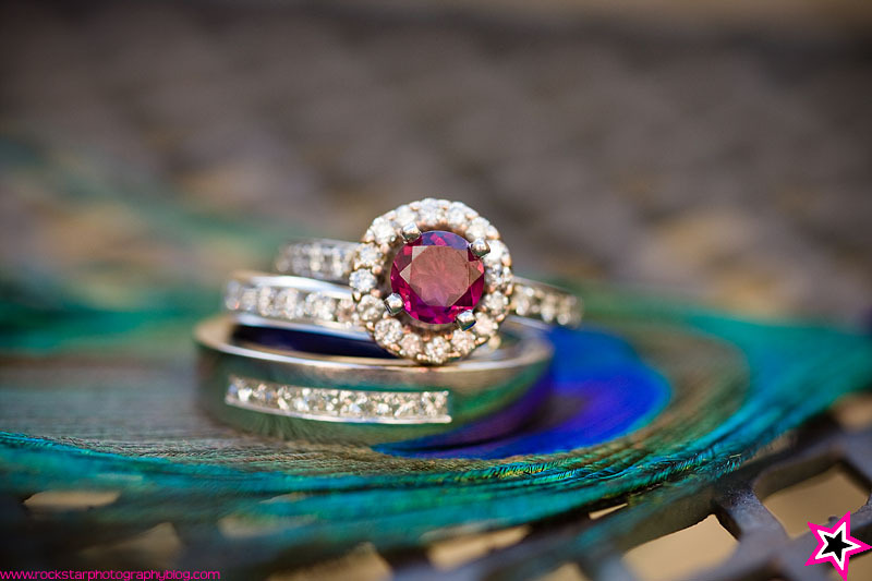 Rings, Wedding, Band, Engagement, Peacock, Colored, Gemstone, Garnet