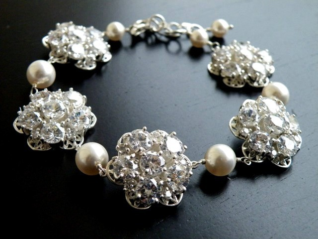 Jewelry, white, ivory, silver, Necklaces, Wedding, Bridal, Necklace, Pearl, Rhinestones, Cz, Cubic, Zirconia