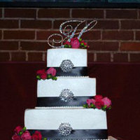Reception, Flowers & Decor, Cakes, white, pink, black, cake