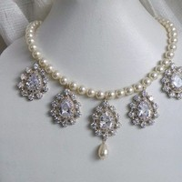 white, Wedding, Bridesmaids, silver, Bridal, Jewelry, ivory, Pearl, Necklace, Rhinestones, Cz, Zirconia, Cubic, Necklaces, Fashion, Bridesmaids Dresses