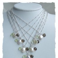 Jewelry, Bridesmaids, Bridesmaids Dresses, Fashion, white, green, brown, silver, Necklaces, Wedding, Bridesmaid, Bridal, Chocolate, Necklace, Pearl, Freshwater, Sterling, Coin, Gemstones, Faceted, Somsstudio