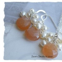 Jewelry, Bridesmaids, Bridesmaids Dresses, Fashion, white, orange, silver, Earrings, Wedding, Bridesmaid, Bridal, Peach, Pearl, Sterling, Faceted, Gemstone, Moonstone