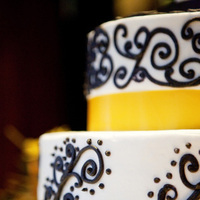 Reception, Flowers & Decor, Cakes, white, yellow, black, gold, cake, Damask