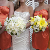 Ceremony, Flowers & Decor, Bridesmaids, Bridesmaids Dresses, Fashion, white, yellow, orange, gold, Ceremony Flowers, Bridesmaid Bouquets, Flowers, Flower Wedding Dresses