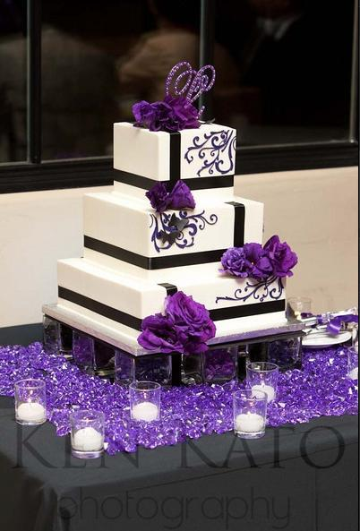 Reception, Flowers & Decor, Cakes, white, purple, black, cake, Inspiration board