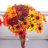 Flowers & Decor, yellow, orange, red, green, brown, gold, Flowers
