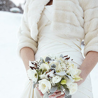 Flowers & Decor, white, silver, Bride Bouquets, Winter, Flowers, Bouquet