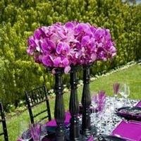 Reception, Flowers & Decor, white, purple, black, Centerpieces, Centerpiece