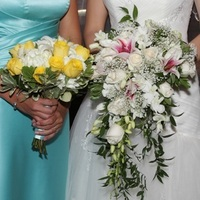 Flowers & Decor, white, yellow, pink, Bride Bouquets, Flowers, Bouquet, Cascade