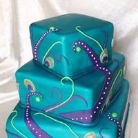 Beauty, Cakes, cake, Feathers, Fondant, Turquoise, Peacock, Feather, Claytonandshauna