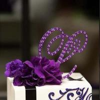 Reception, Flowers & Decor, Cakes, white, purple, black, cake