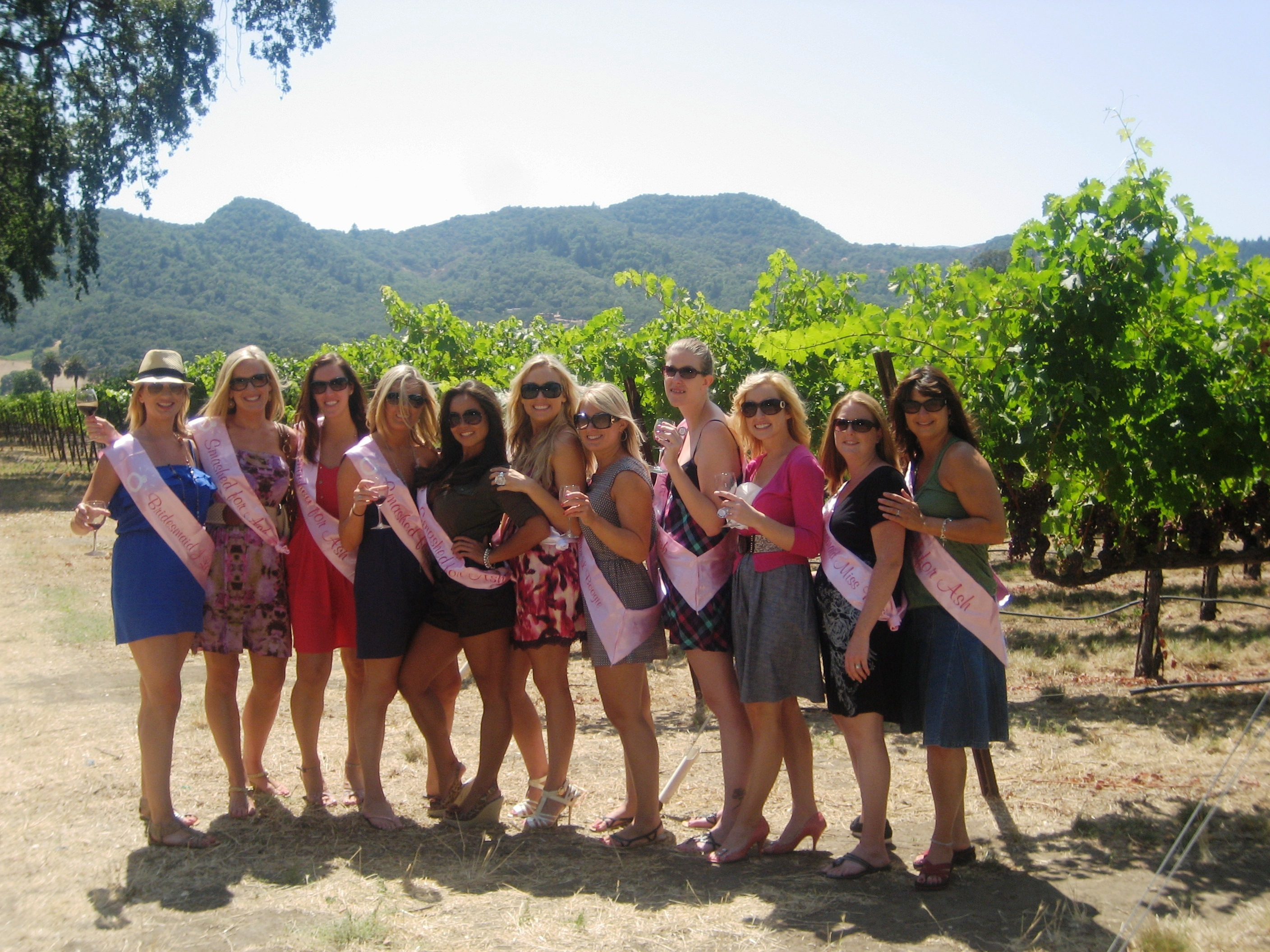 pink, Party, Bachelorette, Wine, Napa, Sashes, Tasting