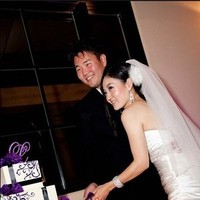 Reception, Flowers & Decor, Cakes, white, purple, black, cake