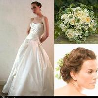 Beauty, Flowers & Decor, Wedding Dresses, Fashion, white, green, gold, dress, Flowers, Hair, Inspiration board, Ivy, Flower Wedding Dresses