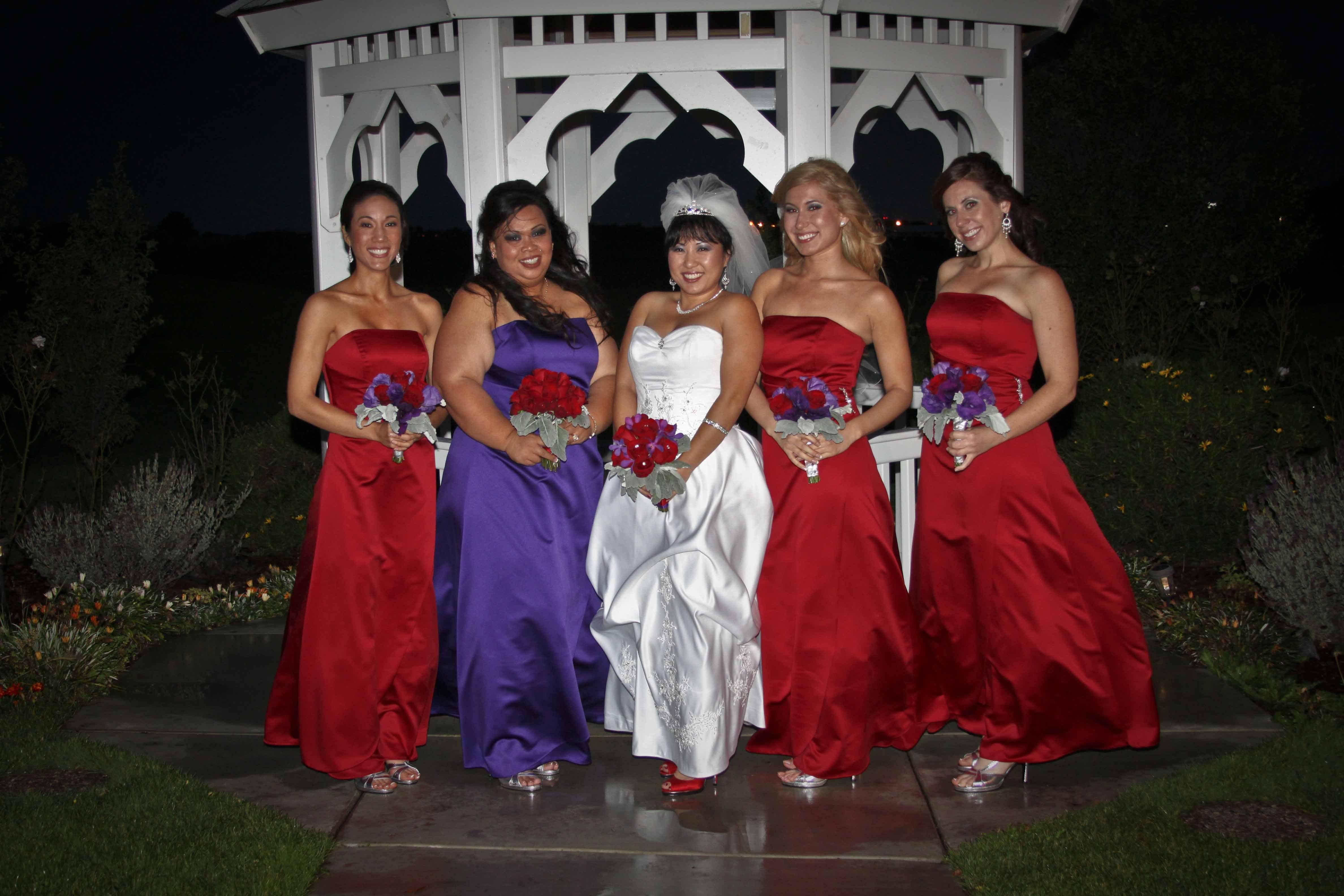 Ceremony, Flowers & Decor, Bridesmaids, Bridesmaids Dresses, Fashion, red, purple, Bouquets, Post